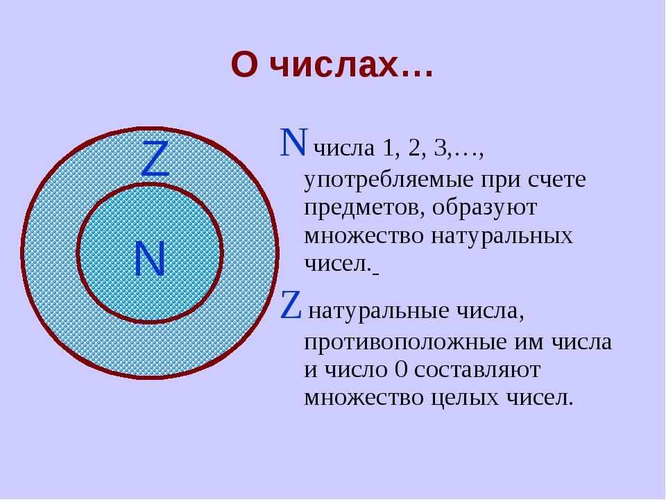 О числах… N числа 1, 2, 3,…, употребляемые при счете предметов, образуют множ...