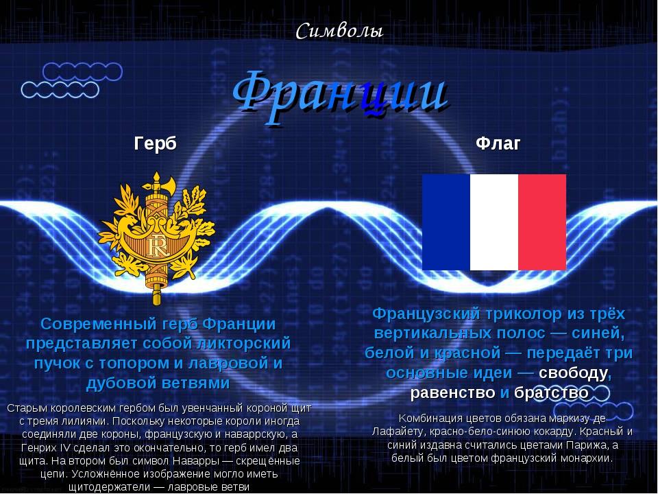 Символы Франции Герб Современный герб Франции представляет собой ликторский...