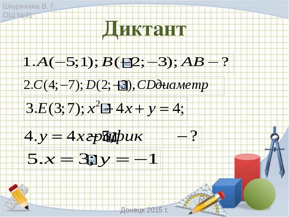Проверь себя 1. АВ=5; 2. М – центр окружности, М(3;-5); 3. Принадлежит 4. Пря...