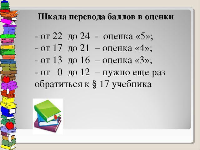 - от 22 до 24 - оценка «5»; - от 17 до 21 – оценка «4»; - от 13 до 16 – оценк...