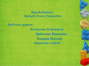 Руководитель: Крюкова Елена Георгиевна Рабочая группа: Белоусова Елизавета