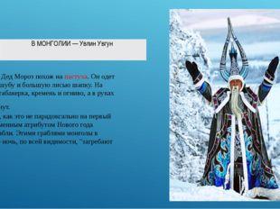 В Монголии Дед Мороз похож на пастуха. Он одет в мохнатую шубу и большую лис