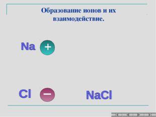 Образование ионов и их взаимодействие.