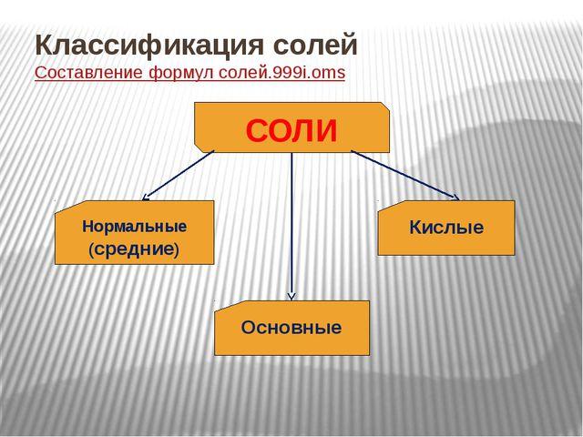 Классификация солей Составление формул солей.999i.oms СОЛИ Нормальные (средни...