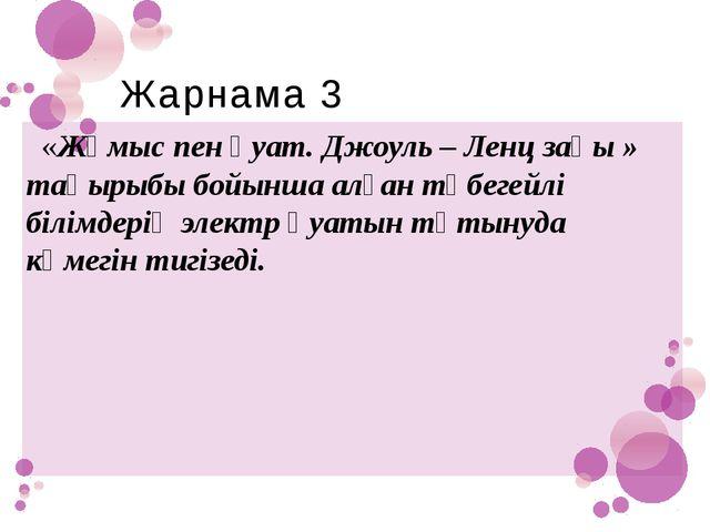 Жарнама 3 «Жұмыс пен қуат. Джоуль – Ленц заңы » тақырыбы бойынша алған түбеге...
