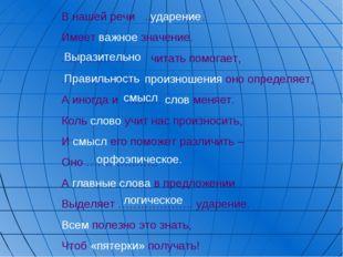 В нашей речи ……………. Имеет важное значение. …………….. читать помогает, ………………….п