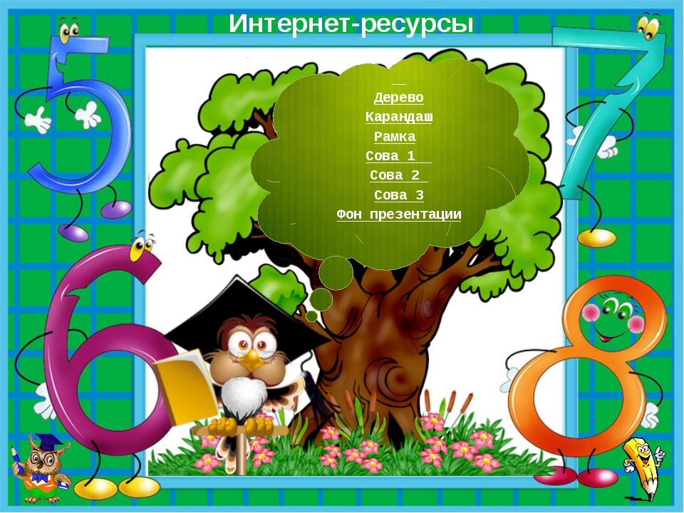 Интернет-ресурсы Дерево Карандаш Рамка Сова 1 Сова 2 Сова 3 Фон презентации