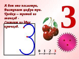 3 А вот это посмотри, Выступает цифра три. Тройка – третий из значков - Состо