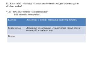 III. Жаңа сабақ түсіндіру – Қазіргі экологиялық жағдай туралы аздаған мәлімет