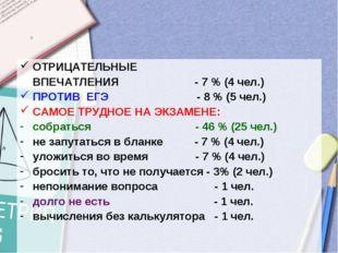ОТРИЦАТЕЛЬНЫЕ ВПЕЧАТЛЕНИЯ - 7 % (4 чел.) ПРОТИВ ЕГЭ - 8 % (5 чел.) САМОЕ ТРУД