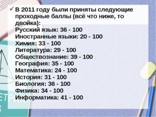 В 2011 году были приняты следующие проходные баллы (всё что ниже, то двойка):