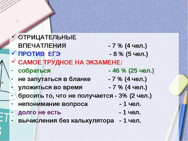 ОТРИЦАТЕЛЬНЫЕ ВПЕЧАТЛЕНИЯ - 7 % (4 чел.) ПРОТИВ ЕГЭ - 8 % (5 чел.) САМОЕ ТРУД...