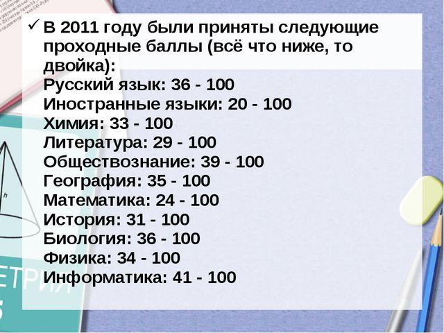 В 2011 году были приняты следующие проходные баллы (всё что ниже, то двойка):...