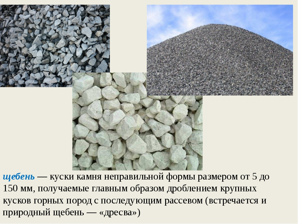 щебень — куски камня неправильной формы размером от 5 до 150 мм, получаемые г...