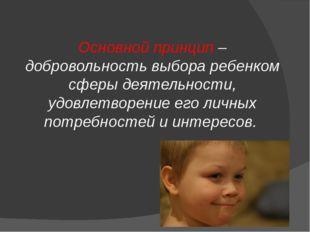 Основной принцип – добровольность выбора ребенком сферы деятельности, удовле