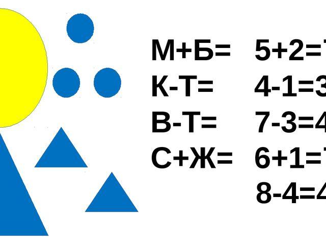 М+Б= К-Т= В-Т= С+Ж= 5+2=7 4-1=3 7-3=4 6+1=7 8-4=4