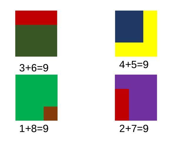 3+6=9 4+5=9 1+8=9 2+7=9