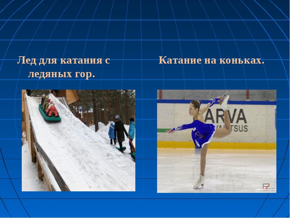 Лед для катания с ледяных гор. Катание на коньках.