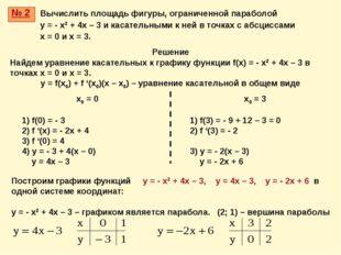 № 2 Решение Найдем уравнение касательных к графику функции f(x) = - x2 + 4x –
