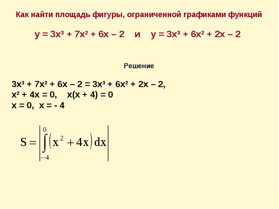 Как найти площадь фигуры, ограниченной графиками функций у = 3х3 + 7х2 + 6х –...