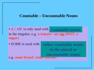 countable nouns either countable nouns in the plural or uncountable nouns Cou