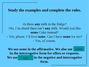 Study the examples and complete the rules. -Is there any milk in the fridge?