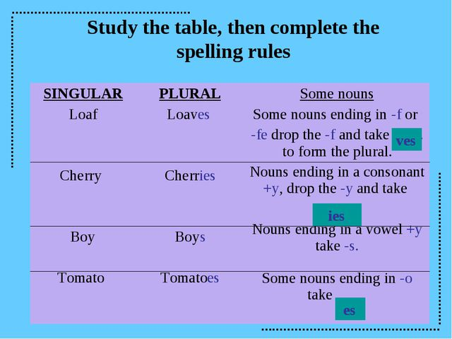 Study the table, then complete the spelling rules ves ies es SINGULAR Loaf Ch...
