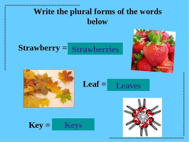 Write the plural forms of the words below Strawberry = Strawberries Leaves Le...