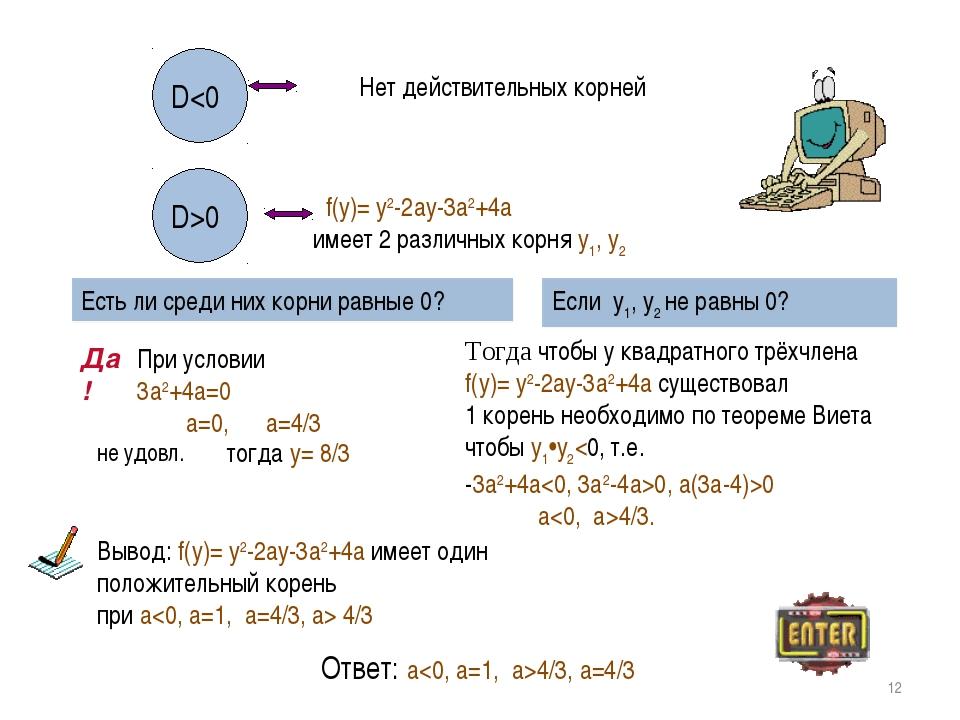 * D0 f(y)= y2-2ay-3a2+4a имеет 2 различных корня y1, y2 Есть ли среди них кор...