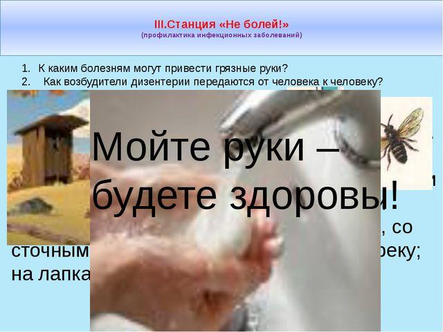 III.Станция «Не болей!» (профилактика инфекционных заболеваний) К каким боле...