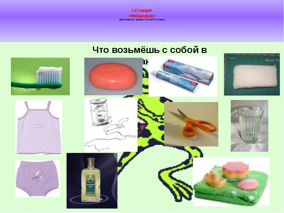 I.Станция «Мойдодыр» (выполнение правил личной гигиены) Что возьмёшь с собой...