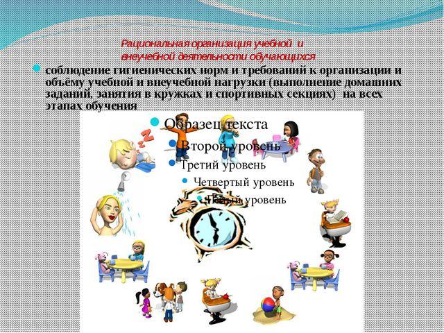 Рациональная организация учебной и внеучебной деятельности обучающихся соблюд...