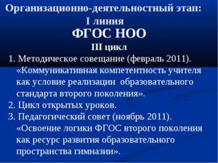 Организационно-деятельностный этап: I линия ФГОС НОО III цикл 1. Методическое