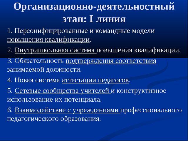 Организационно-деятельностный этап: I линия 1. Персонифицированные и командны...
