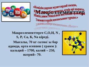 Макроэлементтер  Макроэлементтерге С,О,Н, N , S, Р, Са, К, Na кіреді. Мыс