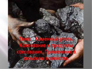 Тема: Каменный уголь. Коксование и продукты коксования. Применение в сельском