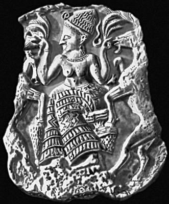 «Богиня плодородия, кормящая козлов». Из Угарита. Слоновая кость. 14 в. до н. э. Лувр. Париж.