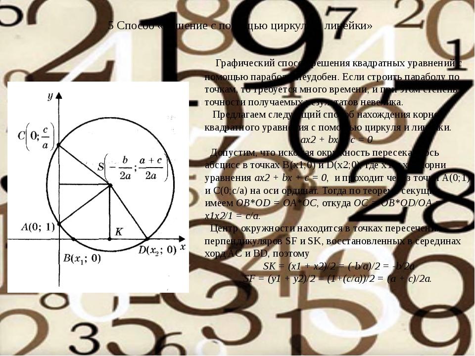 Графический способ решения квадратных уравнений с помощью параболы неудобен....