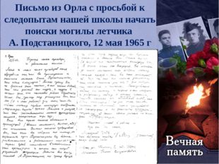 Письмо из Орла с просьбой к следопытам нашей школы начать поиски могилы летчи