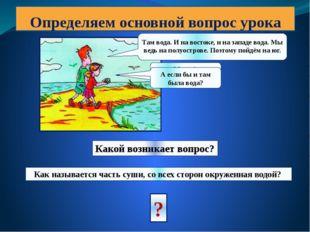 Определяем основной вопрос урока Миша! Пойдём на север! Там вода. И на восток