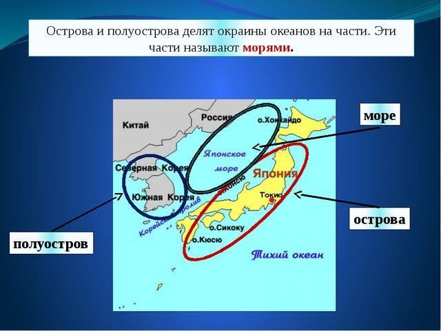 Острова и полуострова делят окраины океанов на части. Эти части называют моря...