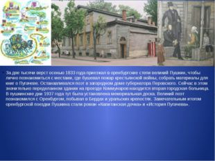 За две тысячи верст осенью 1833 года приезжал в оренбургские степи великий П