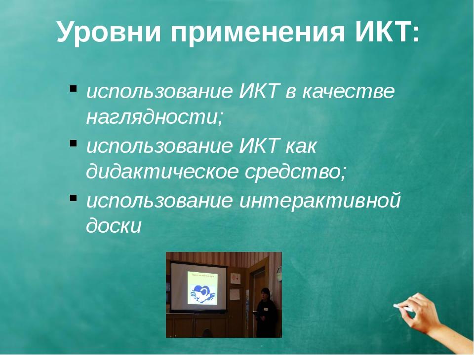 Уровни применения ИКТ: использование ИКТ в качестве наглядности; использовани...