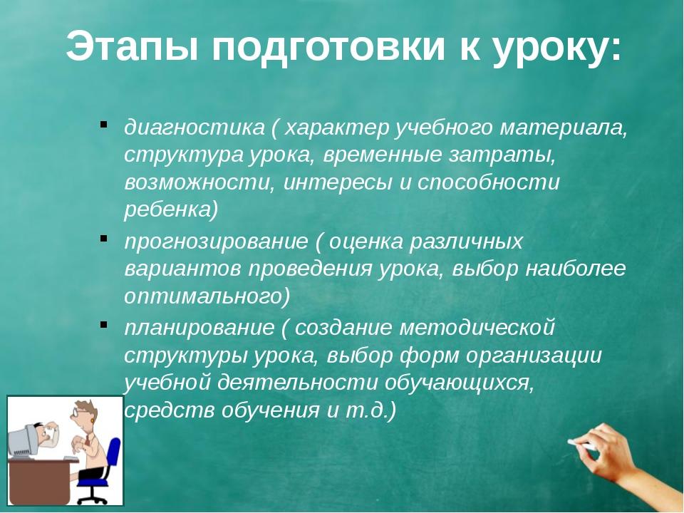 Этапы подготовки к уроку: диагностика ( характер учебного материала, структур...