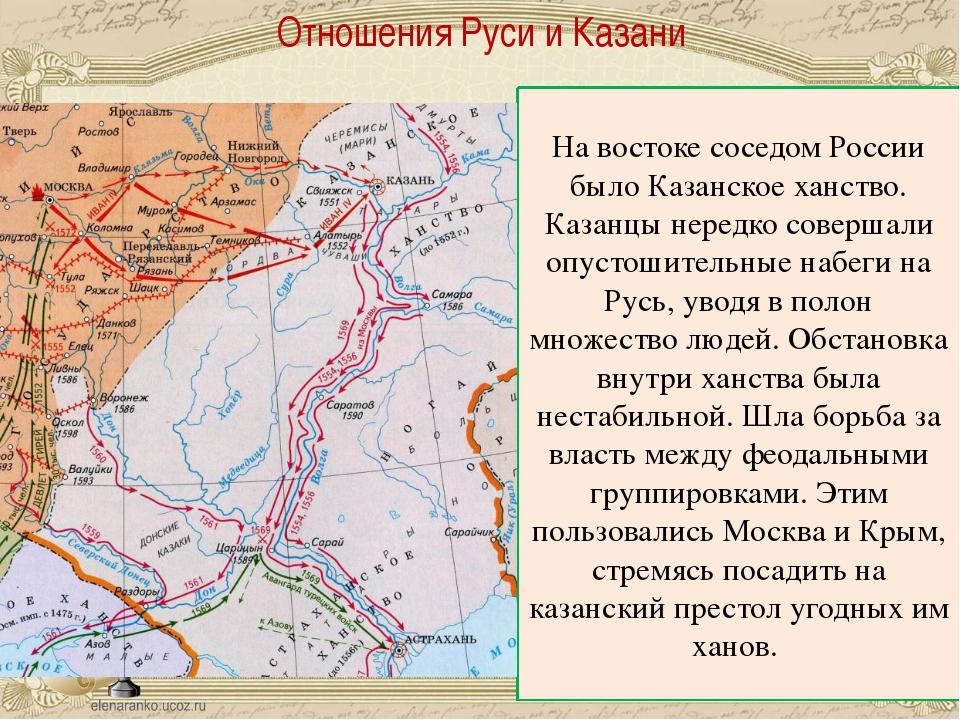 Отношения Руси и Казани На востоке соседом России было Казанское ханство. Ка...