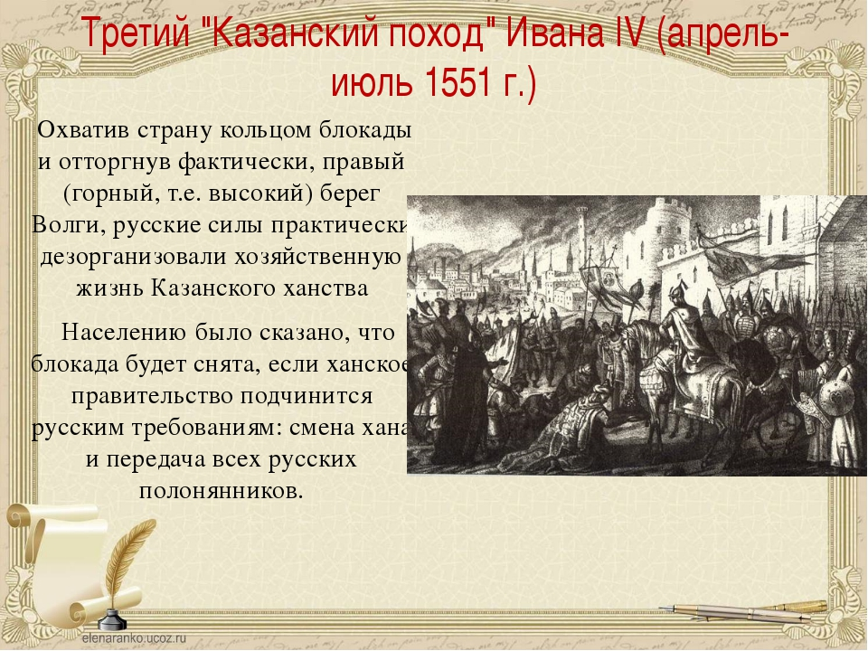 "Третий ""Казанский поход"" Ивана IV(апрель-июль 1551 г.) Охватив страну кольцо..."