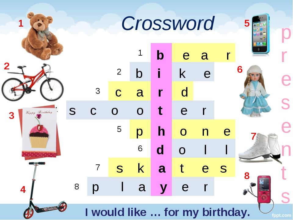 Crossword 1 2 3 4 5 6 7 8 b e a r b i k e c a r d s c o o t e r p h o n e d o...