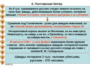 04.03.15 4. Полтавская битва Из 8 тыс. сражавшихся русских солдат немало оста