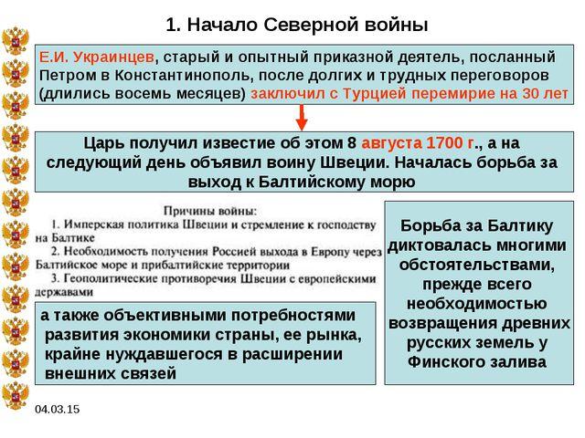 04.03.15 1. Начало Северной войны Е.И. Украинцев, старый и опытный приказной...