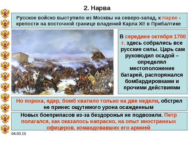 04.03.15 2. Нарва Русское войско выступило из Москвы на северо-запад, к Нарве...